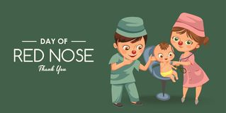 Happy red nose day, mother brought her daughter to medical doctor in hospital, mom fun clownnose and baby girl patient. Vector illustration, man uniform stock illustration