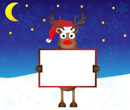 Happy red nose Reindeer deer holding blank paper. Card banner for your text  illustration Royalty Free Stock Images