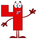 Happy Red Number Four Cartoon Mascot Character Waving For Greeting Stock Images