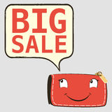 Happy red purse with Discount. Stock Image