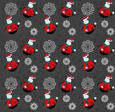 Happy red Snowman pattern background. Happy Snowman with green scarf pattern background royalty free illustration