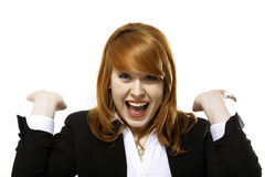 Happy redhaired laughing business woman Stock Photos