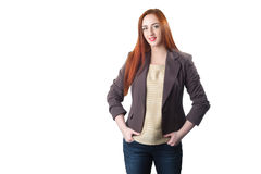 Happy redhead business woman royalty free stock photos