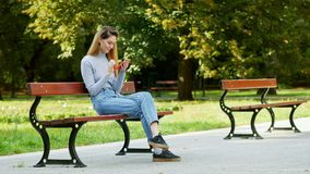 Happy redhead girl student using mobile phone on a bench in a park, young woman smiling while browsing internet stock video footage