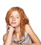 Happy Redhead girl on White. Portrait of a happy, smiling child on white royalty free stock photography