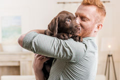 Happy redhead man holding labrador retriever puppy. At home stock photo