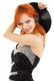 Happy redhead with vinyl record Stock Photo