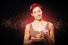 Happy redhead woman with a coffee Stock Photos