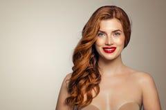 Happy redhead woman portrait. Elegant red head girl royalty free stock image