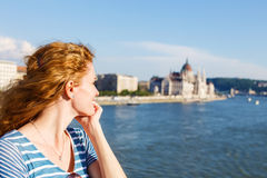 Happy redhead woman tourist in Budapest Royalty Free Stock Images