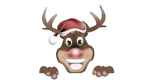 Happy Reindeer with banner stock footage