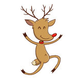 Happy Reindeer Jumping With Joy Royalty Free Stock Photography