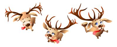 Happy reindeer preparing for the new year and Christmas. Illustration isolated on white background royalty free illustration