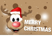 Happy Reindeer with red hat Royalty Free Stock Images
