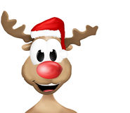 Happy Reindeer with red hat Stock Images