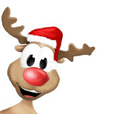 Happy Reindeer with red hat Stock Photography
