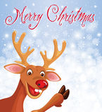 Happy Reindeer Rudolph in corner on snowflake background Stock Images