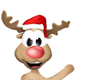 Happy Reindeer says Hello Royalty Free Stock Photography