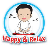 Happy & Relax. Meditation with Happy and Relax for everyone Stock Image