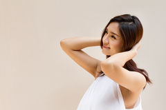 Happy and relax woman looking at blank background Royalty Free Stock Images