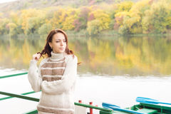 Happy relaxed beautiful woman in nature Royalty Free Stock Photography