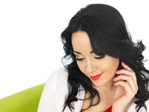 Happy Relaxed Content Thoughtful Attractive Young Hispanic Woman Royalty Free Stock Images
