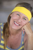 Happy relaxed fit active mature woman portrait Royalty Free Stock Image