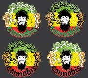 Happy relaxed rastafarian guy smoking marijuana joint  illustration Royalty Free Stock Image