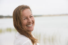 Happy relaxed senior woman outdoor Stock Images