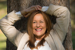 Happy relaxed woman closed eyes outdoor Royalty Free Stock Photos