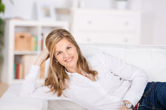 Happy Relaxed Woman At Home Stock Photo