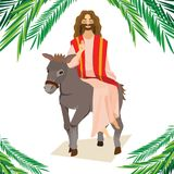 Happy religion holiday palm sunday before easter, celebration of the entrance of Jesus into Jerusalem, palmtree leaves. Vector illustration, man Rides Donkey Stock Photos
