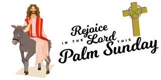Happy religion holiday palm sunday before easter, celebration of the entrance of Jesus into Jerusalem, palmtree leaves. Vector illustration, man Rides Donkey vector illustration