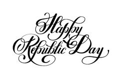 Happy Republic Day handwritten ink lettering inscription. For indian winter holiday 26 January, calligraphy vector illustration Stock Images