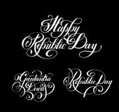 Happy Republic Day handwritten ink lettering set inscriptions. For indian winter holiday 26 January, calligraphy collection vector illustration Royalty Free Stock Photography
