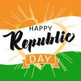 Happy Republic Day Idia heart and beams greeting card in national flag colors. Vector poster or banner background Indian Republic day 26 January for website Royalty Free Stock Photos