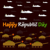 Happy Republic Day of India. With army aircraft and tank in vector background Stock Photo