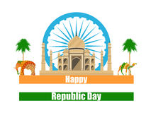 Happy Republic Day of India. Taj Mahal and the symbols of India. Vector Royalty Free Stock Images
