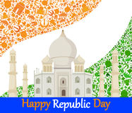 Happy Republic Day of India with Taj Mahal Royalty Free Stock Photography