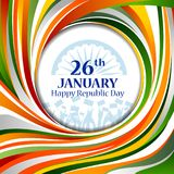 Happy Republic Day of India tricolor background for 26 January. Easy to edit vector illustration of Happy Republic Day of India tricolor background for 26 Stock Photos