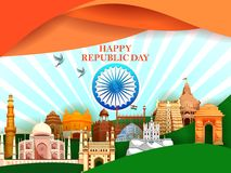 Happy Republic Day of India tricolor background for 26 January. Easy to edit vector illustration of Happy Republic Day of India tricolor background for 26 stock illustration