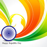 Happy republic day wave background with ashok chakra Royalty Free Stock Photos