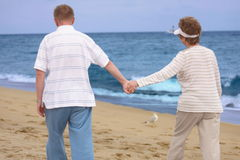 Happy retired couple holding hands Royalty Free Stock Image