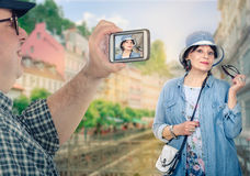 Happy retired couple traveling in Europe stock photos