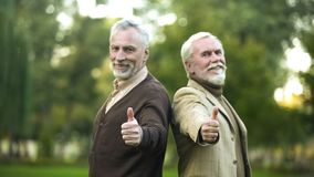 Happy retired gentlemen showing thumbs up and looking in camera, companions. Stock photo stock images