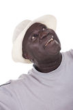 Happy retirement. I wish you happy retirement, senior African american man with white hat Royalty Free Stock Photo