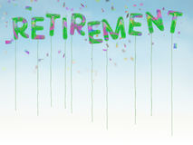 Happy retirement balloons with confetti and blue sky background Royalty Free Stock Photography
