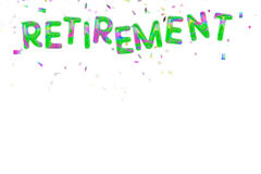 Happy retirement balloons and confetti on white. Foil style balloons. Multicolour. No strings attached Stock Image