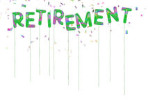 Happy retirement balloons with falling confetti. Royalty Free Stock Photo