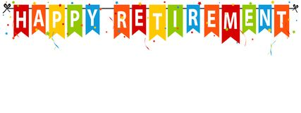 Happy Retirement Banner - Vector Illustration - Isolated On White. Background Royalty Free Stock Photo